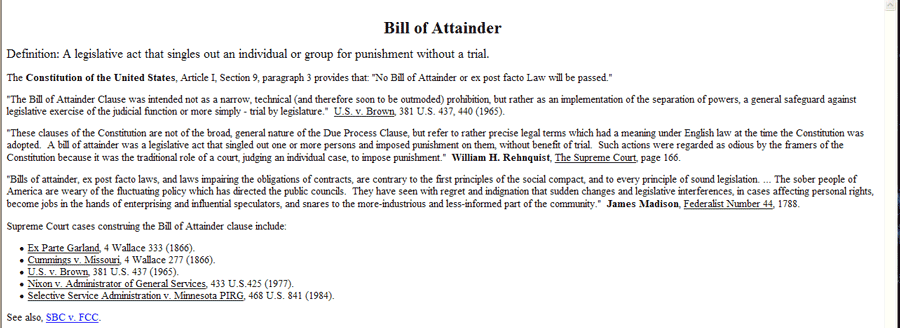 Bill of Attainer
