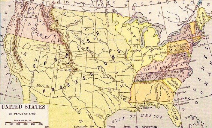 Map of US in 1783